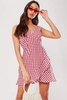 8d0b36408e47 Missguided Red Gingham Wrap Skater Dress