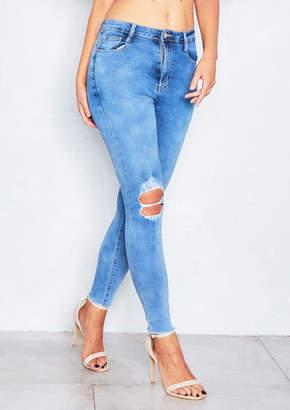 Missy Empire Hally Denim Distressed Ripped Knee Skinny Jeans