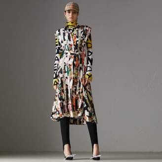 Burberry Graffiti Archive Scarf Print Silk Shirt Dress