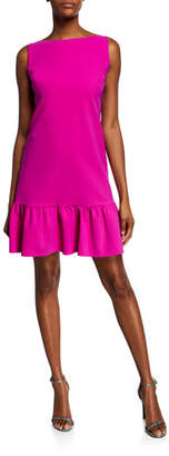 Chiara Boni High-Neck Sleeveless A-Line Ruffle-Hem Dress