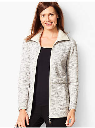 Talbots Fleece-Trim Quilted Jacquard Jacket