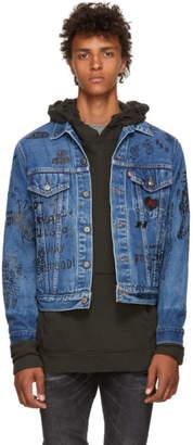 R 13 Blue Repurposed Graffiti Denim Jacket