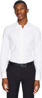 yd. WHITE ZAG PAISLEY SLIM FIT DRESS SHIRT