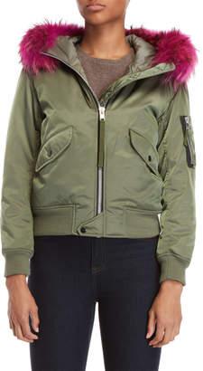SAM. Real Fur Trim Jenny Hooded Flight Jacket