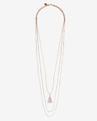 Express Layered Beaded Tassel Necklace