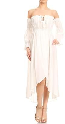 Off-White Anna-Kaci Womens Boho Long Sleeve Off Shoulder Renaissance Peasant Dress