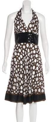Carmen Marc Valvo Silk Printed Dress
