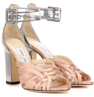 Jimmy Choo Tristen 100 satin and leather sandals