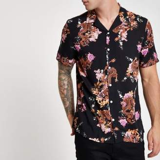 River Island Black short sleeve floral dragon print shirt