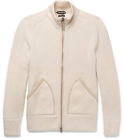 TOM FORD Ribbed Cashmere Zip-Up Cardigan