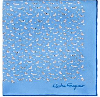 Salvatore Ferragamo Men's Dog-Print Silk Pocket Square