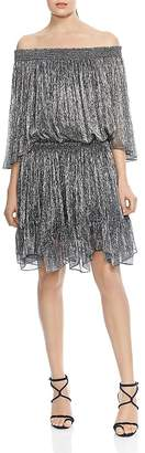 Halston HALSON HERITAGE Off-the-Shoulder Metallic Pleated Dress