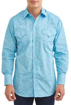 Plains Men's Long Sleeve Paisley Print Western Shirt, up to Size 4XL