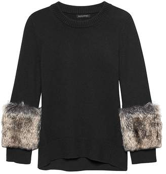 Banana Republic JAPAN ONLINE EXCLUSIVE Faux Fur-Cuff Crew-Neck Sweater