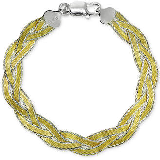 Giani Bernini Two-Tone Braided Bracelet in Sterling Silver & 18k Gold-Plate, Created for Macy's
