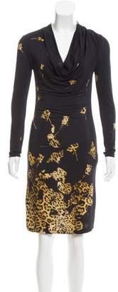 Blumarine Printed Cowl Neck Dress