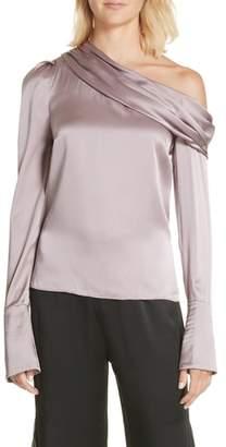 MONICA AMUR Silk One Shoulder Blouse