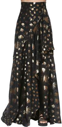 Temperley London Silk Blend Lamé Long Skirt