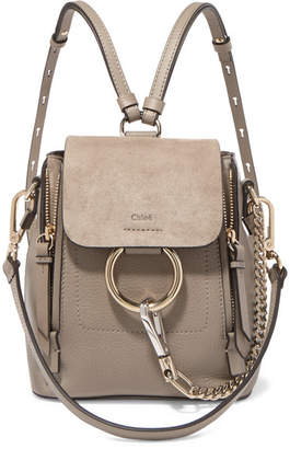 Chloé Faye Mini Textured-leather And Suede Backpack - Gray