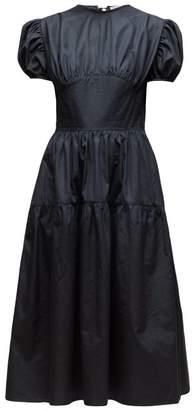 Cecilie Bahnsen - Tia Bow Back Tiered Cotton Poplin Dress - Womens - Black