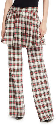 Maggie Marilyn She Is In Charge Skirted Wide-Leg Plaid Pants