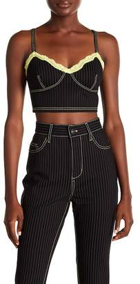 Opening Ceremony Pinstripe Lace Trim Crop Top