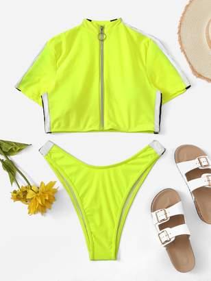 c4e3e0b72d Shein Striped Neon Lime Zipper-up Two Piece Swimwear