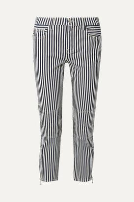 Current/Elliott The Cropped Lexton Striped High-rise Slim-leg Jeans - Navy