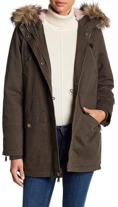 BCBGeneration Faux Fur Trim Hood Anorak Jacket