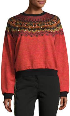 Etro Jewel-Embellished Geometric Crewneck Sweatshirt, Orange