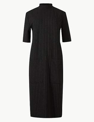 M&S Collection Striped Short Sleeve Shift Midi Dress