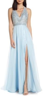 Mac Duggal Beaded Halter Prom Dress with Slit Hem