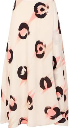 Reiss Marson - Abstract Leopard Print Knee Length Skirt in Pink