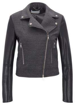BOSS Hugo Biker jacket in virgin wool faux-leather sleeves 0 Charcoal