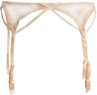 COCO DE MER Wonderland embroidered-lace suspender belt