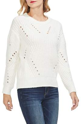 Vince Camuto Rib Pointelle Detail Cotton Blend Sweater