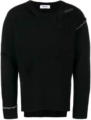 Ambush contrast stitch distressed sweater