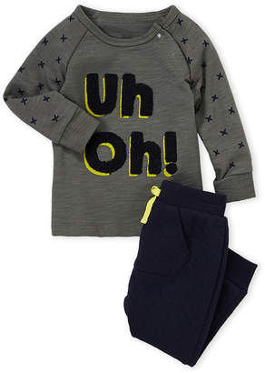 Petit Lem Infant Boys) Two-Piece Uh Oh Shirt & Jogger Set