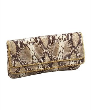 Lauren Merkin Allie Python-Embossed Clutch