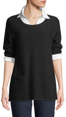 Joan Vass Two-Pocket Cotton Sweater, Plus Size