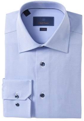 David Donahue Trim Fit Patterned Dress Shirt