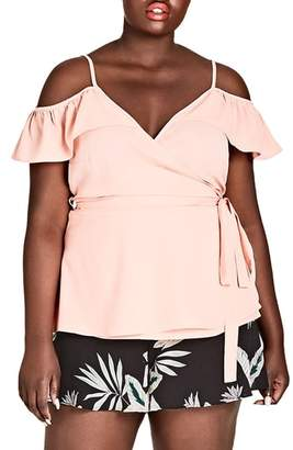 City Chic Flirty Faux Wrap Top