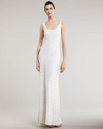 Theia Fully Beaded Slip Gown