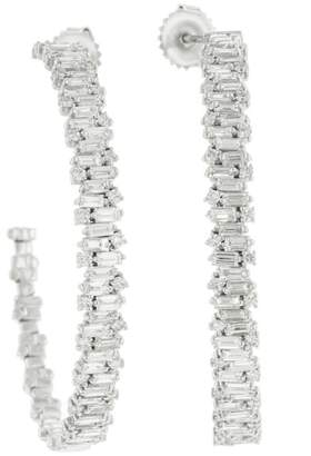 Suzanne Kalan Large Diamond Firework Hoop Earrings - White Gold