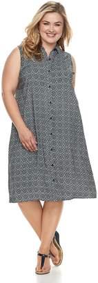 Croft & Barrow Plus Size Print Shirt Dress
