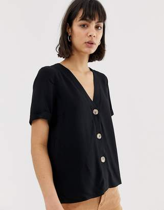 Asos Design DESIGN boxy top with contrast buttons