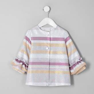 River Island Mini girls Pink metallic stripe frill coat
