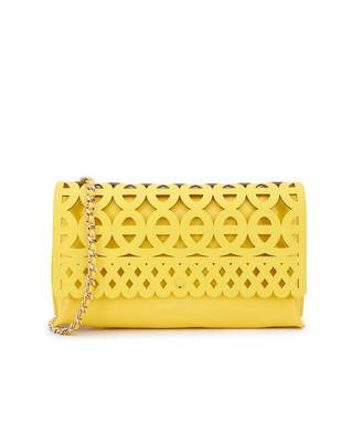 Ted Baker Cut Out Leather Clutch Chain Bag Colour: YELLOW, Size: One S
