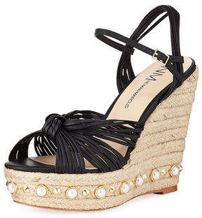 Neiman Marcus Lexicon Metallic Wedge Espadrille