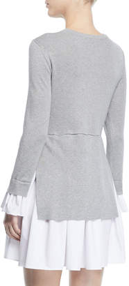 ENGLISH FACTORY Long-Sleeve A-Line Dress with Shirting Combo